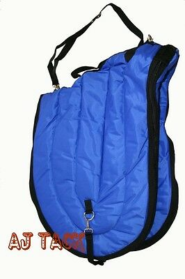 All Purpose English Horse Saddle Carrier Travel Case Bag 420D Quilted Royal Blue