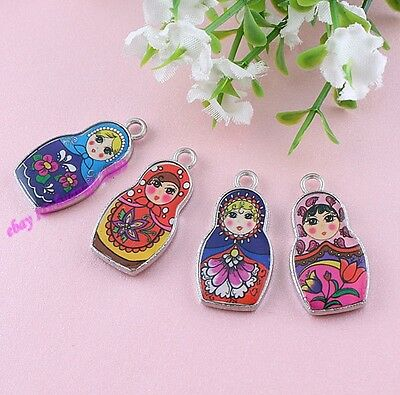 Lot 50pcs Double-Sided Colors Enamel Russian Doll Charms