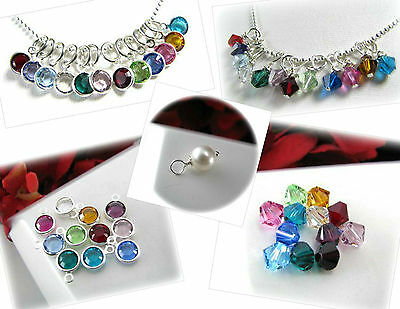 Add On Swarovski Crystals & Pearls Charms Pendants Birthstones for Hand Stamped
