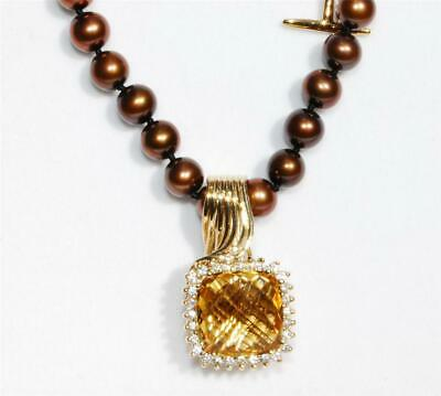 8.60ctw Citrine, Topaz & Cultured Freshwater Pearl 10K Gold Necklace BN Genuine