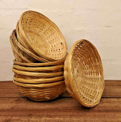 Set Of Natural Bamboo Round Wicker Baskets Small Woven Storage Nuts Snack Bowls