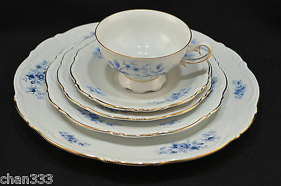 "Mitterteich ""Rhapsody In Blue"" 5 Piece Place Setting(s) Bavaria Germany Ex.Cond"
