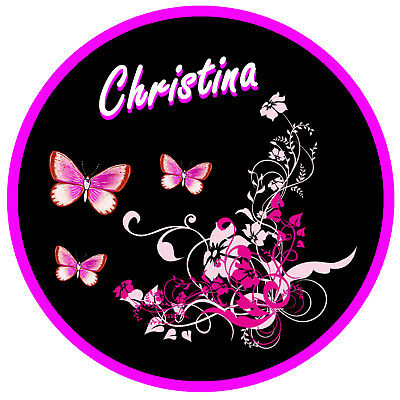 Pink/black Butterfly & Flower Personalised - Car Tax Disc Holder - Name Reusable