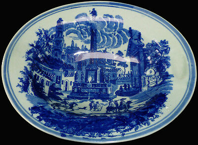 "Vintage 1980s Victoria Ware Ironstone Blue Transferware 11"" Oval Serving Bowl"