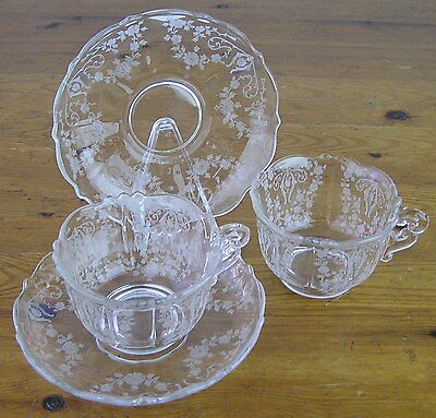 RARE-Vtg Cambridge Glass USA-2 Diane Clear Crystal Scroll Cup & Saucer Set-MINT