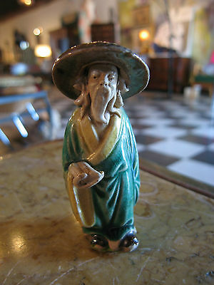 Vintage Antique Likely Chinese Pottery or Clay Painted Figure of a Man