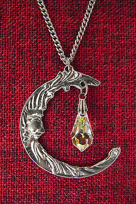 Moon Face Crescent Crystal Mystic Lunar Celtic Silver Pewter Pendant Necklace