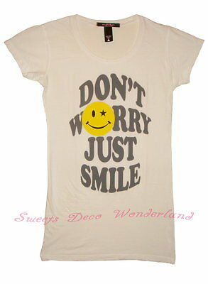 100% Auth Lac By Laceleb Happy Face Don't Worry Just Smile Tunic Top Tee T-Shirt