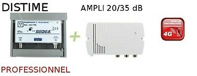 KIT AMPLIFICATEUR ANTENNE AMPLI 20 A 35 dB 2 SORTIES TNT HD / TV PROTECTION 4G