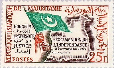 MAURITANIA MAURETANIEN 1960 177 118 Proclamation of Independence Flag Map MNH