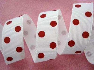 "5 yards Polka Dot Grosgrain 7/8"" Ribbon/bow/craft/polyester/23mm WHITE/Red R43-T"