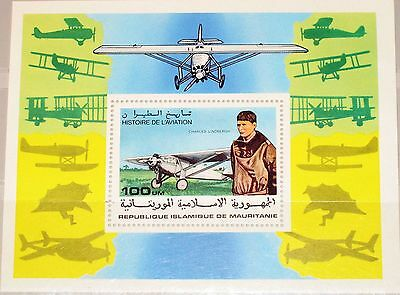 MAURITANIA MAURETANIEN 1977 Block 18 S/S 372 History of Aviation Planes MNH