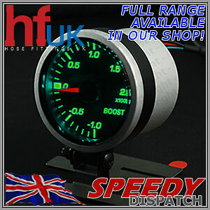 Smoked GREEN LED TURBO BOOST GAUGE 52mm Dial 2 BAR + FITTING KIT & HOLDER POD