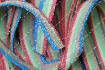 Fizzy Rainbow Belts Strips X 200 Full Tub Retro Sweets Party Bag