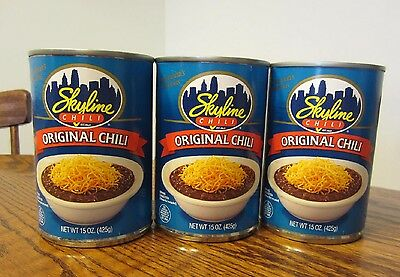3 Cans Of  Skyline Chili  (15 Ounce  Cans)   Cincinnati Style Chili