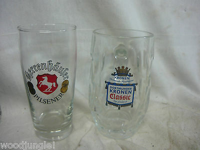2 Beer Glasses Herrenhauser Pilsener Mug Glass Germany Dortmunder Kronen Classic
