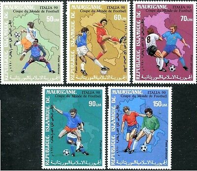 MAURITANIA MAURETANIEN 1990 962-66 C272-76 Soccer World Cup Fußball Italy MNH