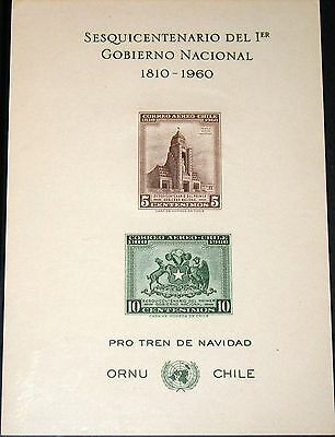 CHILE 1960 580-81 Gedenkblatt C219 Memory Sheet Arms of Chile Building UNO MNH