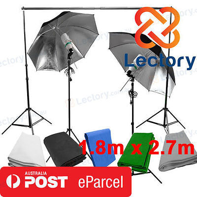 2x120W Black/Silver Umbrella Lighting Kit + Green Backdrop + Background Stand