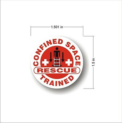 Safety Decal Hard Hat CONFINED SPACE RESCUE TRAINED employee sticker (set of 7)