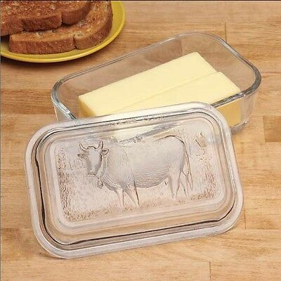 Glass Cow Butter Dish, Embossed Glass Cow Conveniently Holds Two Sticks Butter
