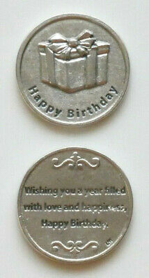 (2) HAPPY BIRTHDAY Silver Tone Pocket Tokens -Italy-