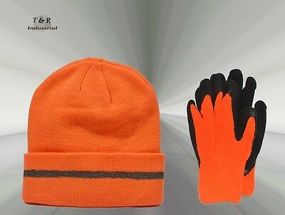 Hi-Vis Orange Beanie & Winter Polar Gloves Combo