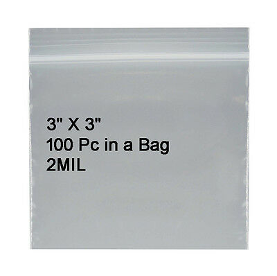"200 3 x 3"" 2mil Reclosable Poly Clear Ziplock Zip Lock Bags Self Locking Zipper"