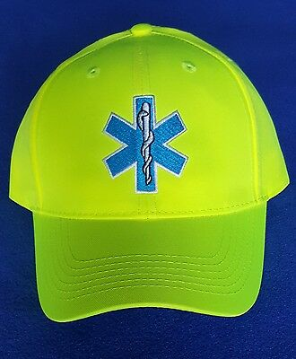 EMT/ EMS  Hat Hi Viz  Hi Vis Star of Life Safety Yellow