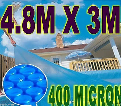 NEW 400 Micron Ourdoor Solar Swimming Pool Cover Bubble Blanket 4.8m x 3m