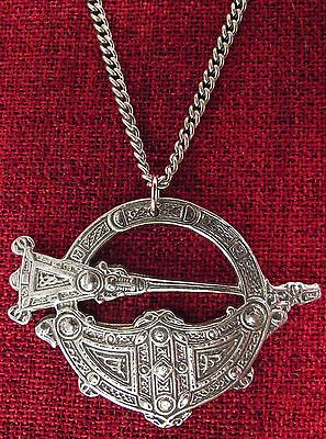 Celtic Brooch of Tara Pendant Ireland Irish Medieval Iona Chain Pewter Necklace