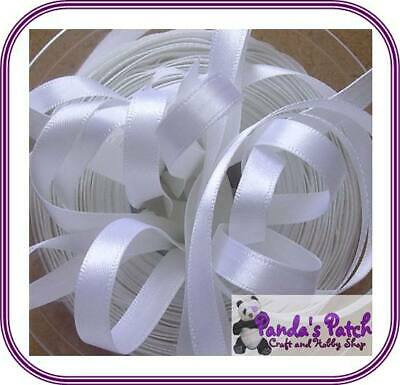 White Double Faced Satin Ribbon Available in 3 Lengths, 8 Widths