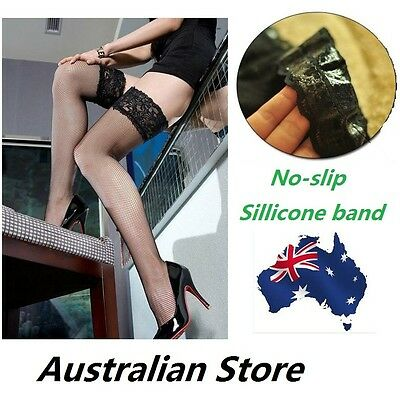 Sexy Lingerie Seam Silicone Bands Lace Top Fishnet Thigh High Stockings Black