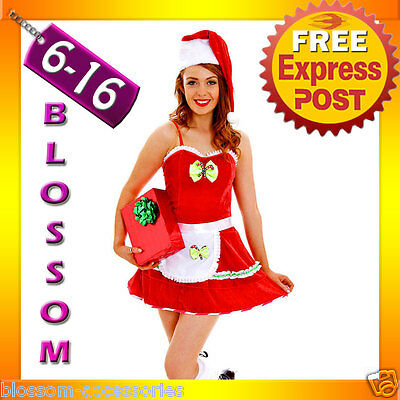 G71 Santa Claus Christmas Helper Fancy Dress Costume Xmas Party Outfit & Hat