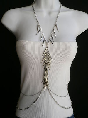 New Women Silver Spikes Metal Long Full Body Chain Fashion Hot Trendy Jewelry