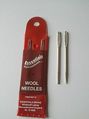 Pack 2 Wool Hand Sewing Knitting Needles FREE P & P