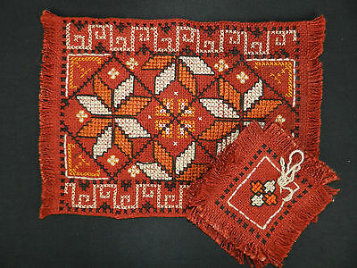 """vintage hand woven and embroidered table cover + napkins 16""""/12"""" n874"""