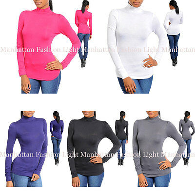 S,M,L Choose from 5 COLORS!Turtleneck,Stretchy Top.Black,Pink,White,Gray