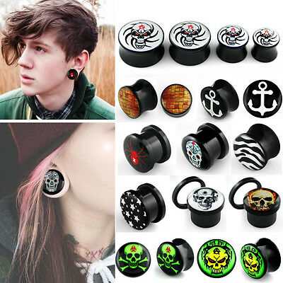 """PAIR Double Flared Screw Fit Printed Logo Ear Plugs Flesh Tunnels Acrylic 8G-1"""""""
