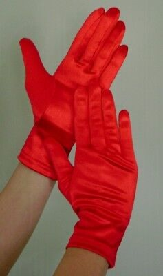 WRIST Length Stretch SATIN Gloves RED