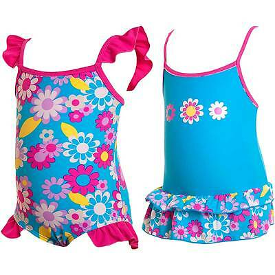 Bubbles Baby Girls Blue Flower Frilly Plain Swimsuit Pink Trim 6-23 months