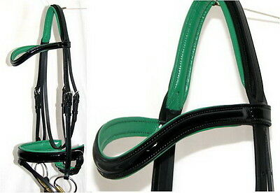 FSS PATENT GLOSS Comfort CURVE FOREST KELLY GREEN Padded German Dressage Bridle