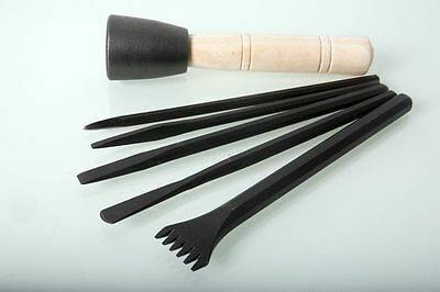 Italian Stone Carving Fire-Sharp Carbon Steel Chisel Set with 500g Dummy Hammer