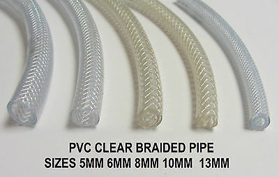Pvc Braided Hose Pipe Reinforced Tubing Food Water Air Oil Fuel Clear Plastic