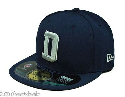 """NEW ERA 59FIFTY NFL FOOTBALL CAP DALLAS COWBOYS """"D"""" NAVY BLUE FITTED 5950 HAT"""