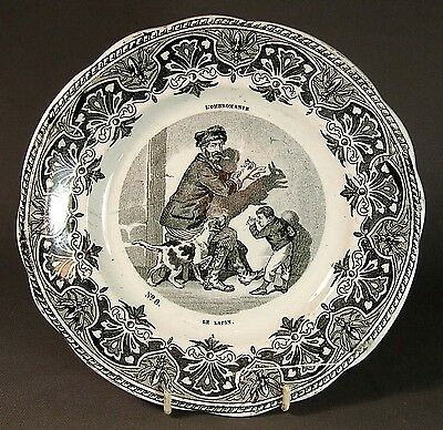 WONDERFUL, RARE 19th. CENTURY FRENCH CHILDS PLATE DEPICTING SHADOWGRAPHY