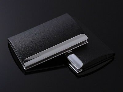 Business Card Holder Case Cover Black PU Leather Metal Credit Card ID Card New