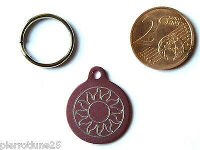 MEDAILLE GRAVEE RONDE ROSE soleil CHATON CHAT collier medalla cane katze