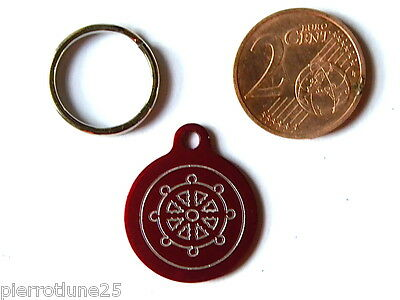 MEDAILLE GRAVEE RONDE ROUGE MARIN CAPITAINE CHATON CHAT collier medalla cane
