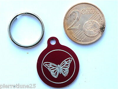 MEDAILLE GRAVEE RONDE ROUGE PAPILLON CHATON CHAT collier medalla cane katze